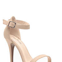 Anne Michelle Nude Nubuck Single Sole Heels
