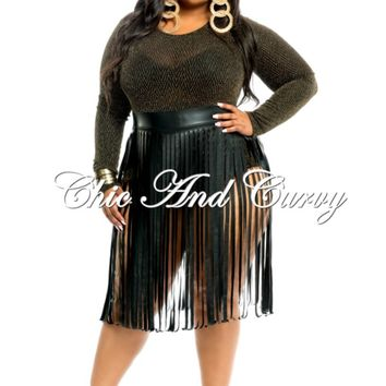 Outlet Plus Size Attached One Piece - Gold Glitter Leotard and Liquid Fringe Skirt 1x 2x 3x
