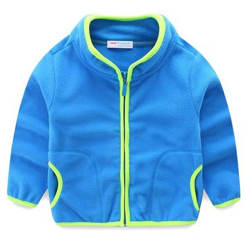 Mudkingdom Boys Girls Fleece Coats Winter Children Kids Spring Autumn Jackets Candy Color Toddler Clothes