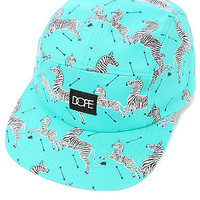 The Zebra Print 5 Panel Hat in Teal