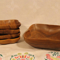 Vintage Five Piece Wood Bowl Set- Leilani Genuine Monkey Pod Hand Crafted- Made in Philippines- Mid Century- Retro- Serving- Salad- Kitchen