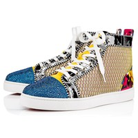 Christian Louboutin Cl 19s Louis P Strass Men's Flat Strass/patent Nicograf Version Multi Sneakers - Best Online Sale