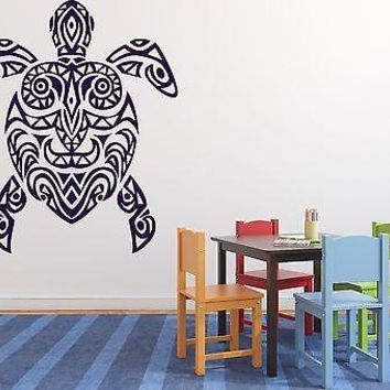 Wall Vinyl Sticker Decal Tortoise Shell African Motifs Painted with Mask Unique Gift (n142)