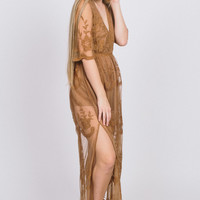 Laced In Elegance Romper - Brown