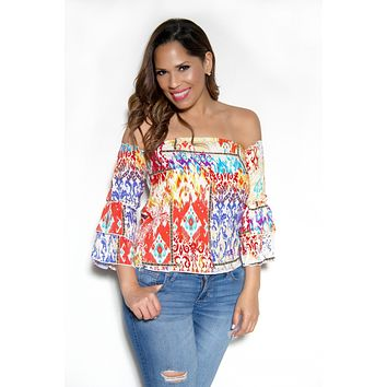 Off The Shoulder Coral Multicolor Boho Tribal Print Long Sleeves Top