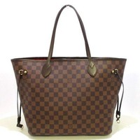 Auth LOUIS VUITTON Neverfull MM N51105 Ebene Damier Canvas CA0133 Tote Bag