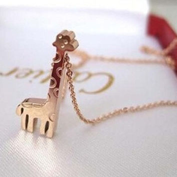 316L Stainless Steel 14K Rose Gold Plated Giraffe Pendant necklace (With Thanksgiving&Christmas Gift Box)= 1958074948