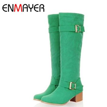 ENMAYER  Hot Sale Knee Boots Women Winter High Heel Long Boots Slim Sexy Buckles Nubuck Leather Shoes Women Large Size 34-43