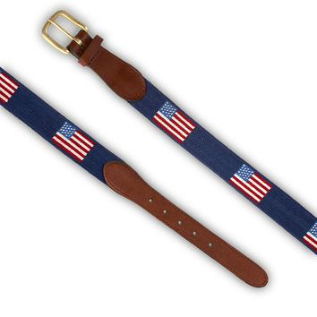 Needlepoint Belt Navy With American Flag