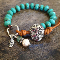 """Sugar Skull Knotted Bracelet, Turquoise & Silver Leather Wrap """"Boho Chic"""""""