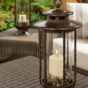 Decorative Hurricane Lantern, Glass Candle Holder, Cast Iron, Rustic, Indoor & Outdoor Lighting, H Potter Small, Pool, Patio, Deck Decor