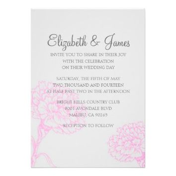 Custom Modern Hot Pink Wedding Invitations