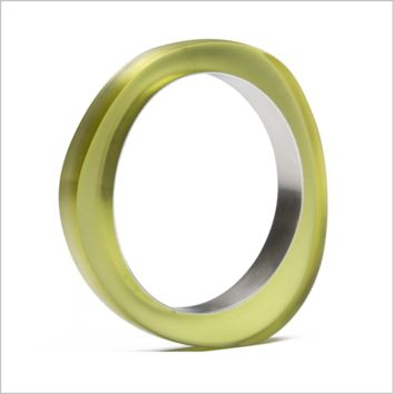 PLASTIC Chic Abstract Chartreuse Resin and Silver Triangle Bangle
