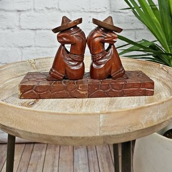 Vintage 1960s Folk Art Wooden + Mexican Siesta Bookends