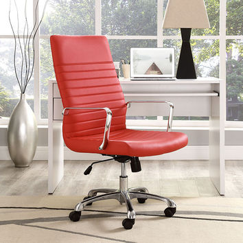 Unique Vinyl Ribbed High Back Executive Office Desk Chair