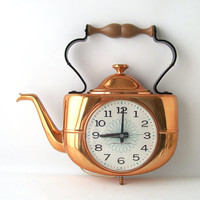 vintage GE wall clock kitchen teapot copper electronic decorative home decor kettle retro mid century modern