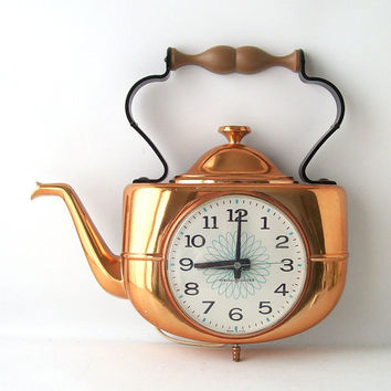 Vintage GE Wall Clock Kitchen Teapot Copper Electronic Decorative Home  Decor Kettle Re