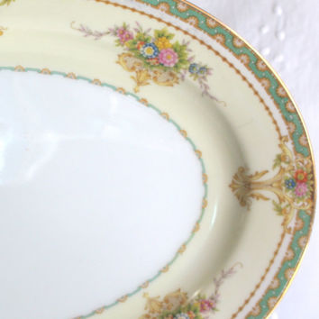 Japanese Serving Platter / Mieto Fine China / Floral Pattern