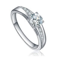 Stainless Steel Round Cubic Zirconia Solitaire Engagement Ring