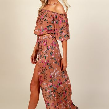 Floral Dreams Maxi Skirt Copper