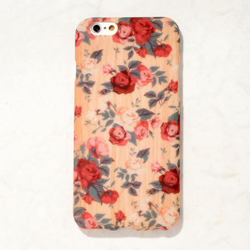 Wooden Red wooden floral Rose iPhone 6S/ 6 case