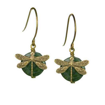 Dragonfly Earrings in Vintage Natural Brass with 10mm Jade Stone