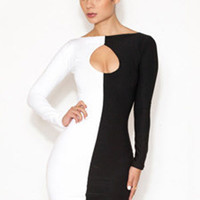 Color Block Long Sleeve Cutout Bodycon Mini Dress