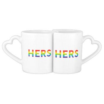 Hers And Hers Rainbow Pride LGBT Couples' Coffee Mug Set