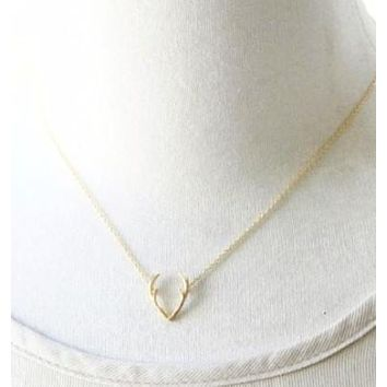 Minimalist 14K Gold or Platinum Deer Antler Pendant Necklace