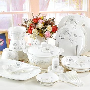 56 pieces ceramic dinnerware set  bone china tableware bowl dish plate set