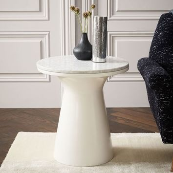 Marble Topped Pedestal Side Table - White Marble/White
