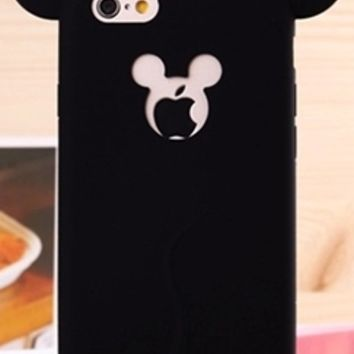 Forever Young Black Mickey Mouse Ears Silicone Phone Case Cover