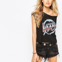 Vans Cropped T-Shirt With Graffiti Logo