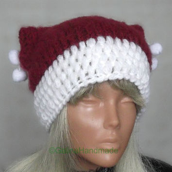 Christmas Santa Cat Ear Hat Cat Ear Beanie Chunky Knit Cat Hat Catwoman Costume  Xmas Gifts
