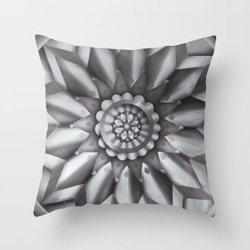 Black and White Minimalist Mandala Design Throw Pillow by AEJ Design
