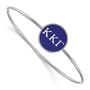 Sterling Silver Kappa Kappa Gamma Enamel Bangle - 7 in.