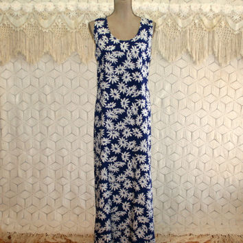 Sleeveless Maxi Dress Long Floral Dress Summer Dress Large XL Shift Blue and White Daisy Print Rayon Womens Dresses Chaus Womens Clothing