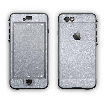 The Silver Sparkly Glitter Ultra Metallic Apple iPhone 6 LifeProof Nuud Case Skin Set