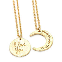 i love you to the moon and back necklace set, moon necklace, i love you necklace, crest necklace, love necklace, bestfriends necklace
