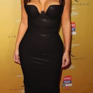 Nikita Black Sleeveless Spaghetti Strap V Neck Matte Faux Leather Bodycon Midi Dress - Inspired by Kim Kardashian