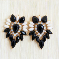 Black Pansy Earrings - Earrings