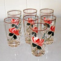 Vintage Hand Painted Glass Tumblers, Rose Glasses, set of 7 drinking glasses