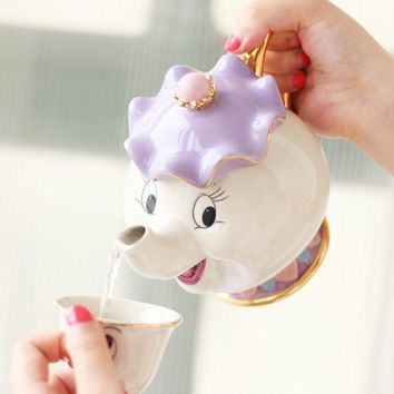 New style Cartoon Beauty And The Beast Teapot Mug Mrs Potts Chip Teapot Cup Birthday Gift Collection