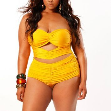 """Fiji"" Sweetheart Strapless Ruched Plus Size Swimsuit w/ Removable Strap- Yellow - Swimwear - Monif C"