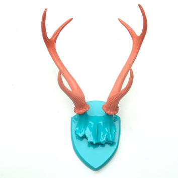 Large Faux Taxidermy Deer Antler Mount - Turquoise Plaque With Coral Antlers  - Unique Fake Resin Decor - Animal Friendly Wall Art - HT6167
