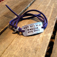 """hand stamped quote bracelet with charm, """"not all who wander are lost"""", wrap bracelet, faux suede bracelet"""