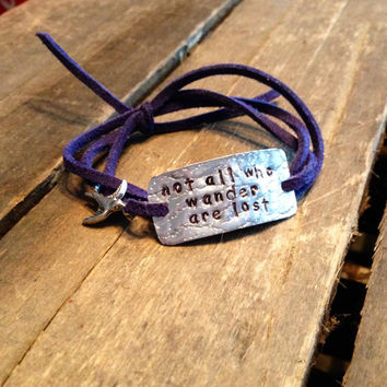 "hand stamped quote bracelet with charm, ""not all who wander are lost"", wrap bracelet, faux suede bracelet"