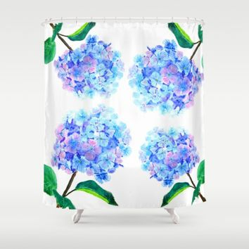 blue purple hydrangea Shower Curtain by Color And Color