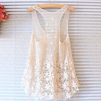 2016 Casual Hollow Out Lace Limited Handmade Vest Slim Tank Top for Womens Summer Gift-48