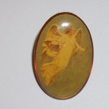 Vintage Angel Cabochon Brass Pin